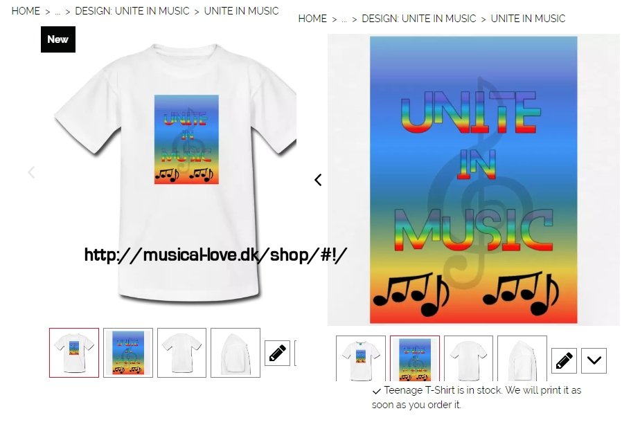 Lately some new music related T-shirts have hit the market. Here you can see the designs of the T-shirts in the shop, but besides T-shirts, the shop also offers  mugs, caps and mulebags and much of the merchandise can be personalized into preferred colors.